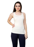 Renka Lycra Cotton Dark Bluewhite Plain Solid Women Camisole (Pack 2)