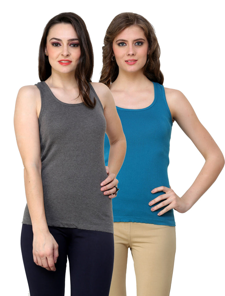 Renka Lycra Cotton Grey Blue Sleeveless Women Camisole (Pack 2)
