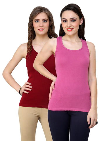 Maroon Solid Plain Women Camisole (Pack 2)