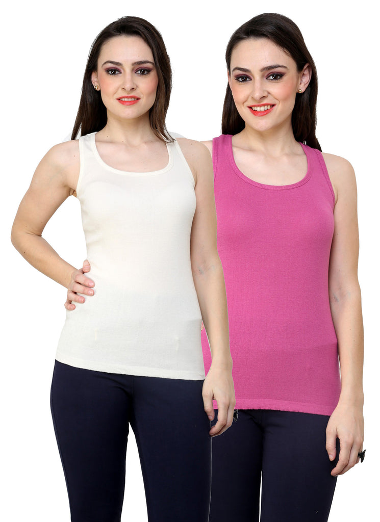 Renka Lycra Cotton Light Pink White Solid Plain Women Camisole (Pack 2)
