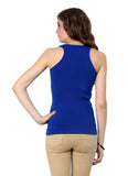 Renka Lycra Cotton Purple Blue Round Neck Women Camisole (Pack 2)