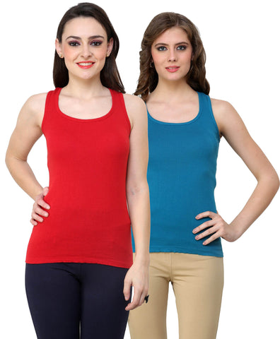 Renka Lycra Cotton Red Blue Plain Women Camisole (Pack Of 2)