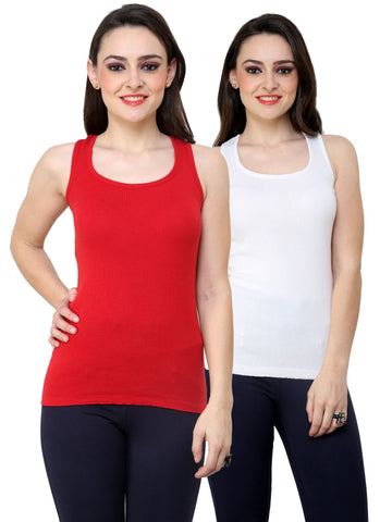 Renka Lycra Cotton Red White Plain Women Camisole (Pack Of 2)