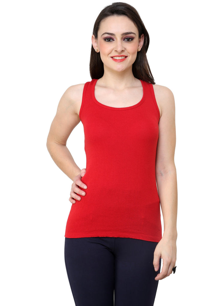 Renka Comfortable Red Color Camisole Summer Tank Tops for Women