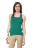Renka Lycra Cotton Blue Green Sport Wear Women Camisole (Pack Of 2)