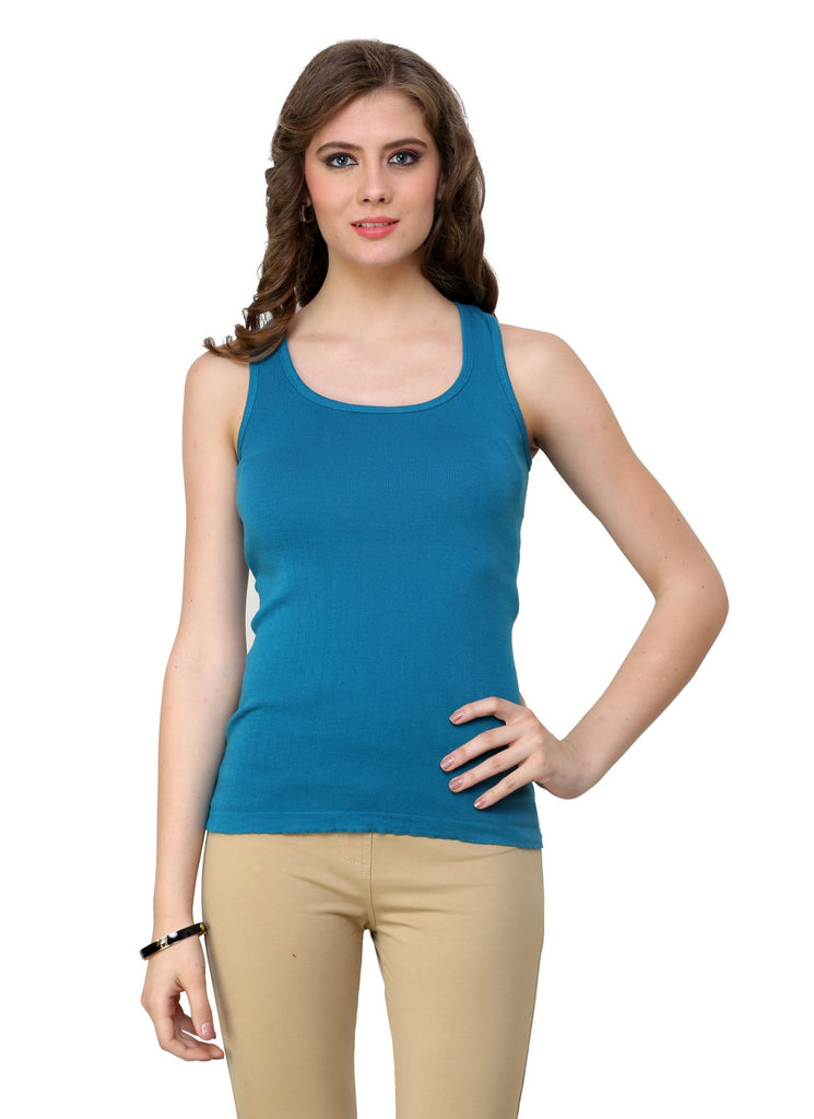 Renka Comfortable Teal Color Camisole Summer Tank Tops for Women