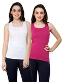 Renka Lycra Cotton White Pink Cotton Women Camisole (Pack Of 2)