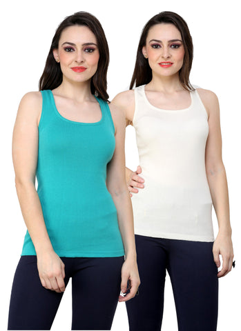 Renka Lycra Cotton Blue White Plain Solid Women Camisole (Pack Of 2)