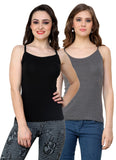 Renka Lycra Cotton Black Grey Plain Women Camisole (Pack Of 2)