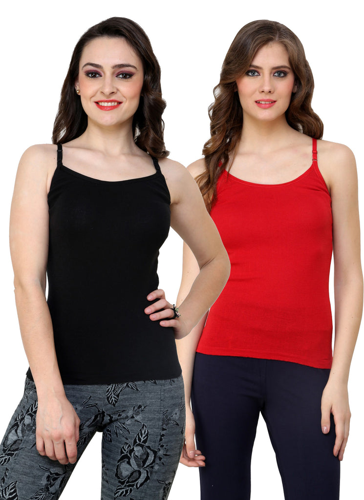 Renka Lycra Cotton Black Red Plain Women Camisole (Pack Of 2)