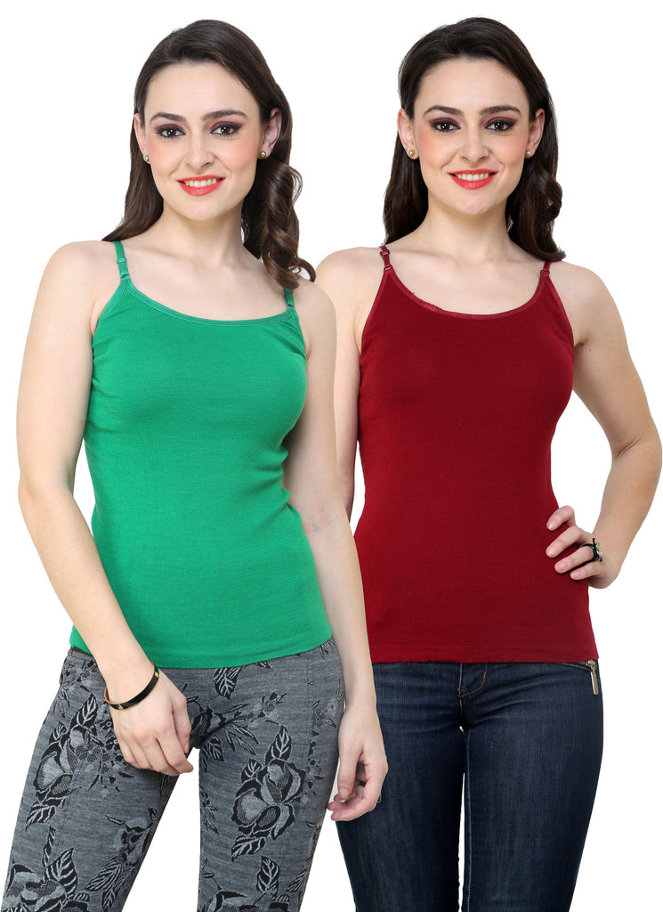 Renka Lycra Cotton Green Maroon Round Neck Women Camisole (Pack Of 2)