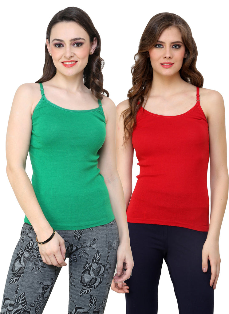 Renka Lycra Cotton Green Red Plain Women Camisole (Pack Of 2)