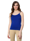 Renka Lycra Cotton Blue Dark Blue Plain Solid Women Camisole (Pack Of 2)