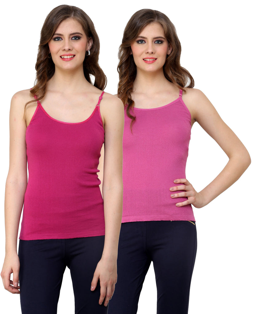 Renka Lycra Cotton Pink Light Pink Plain Solid Women Camisole (Pack Of 2)