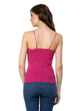 Renka Lycra Cotton Pink Green Sleeveless Women Camisole (Pack Of 2)