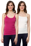 Renka Lycra Cotton Pink White Solid Women Camisole (Pack Of 2)