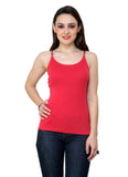 Renka Lycra Cotton Red Brown Round Neck Women Camisole (Pack Of 2)