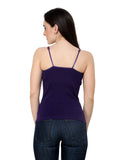 Renka Lycra Cotton Dark Blue Blue Plain Women Camisole (Pack Of 2)
