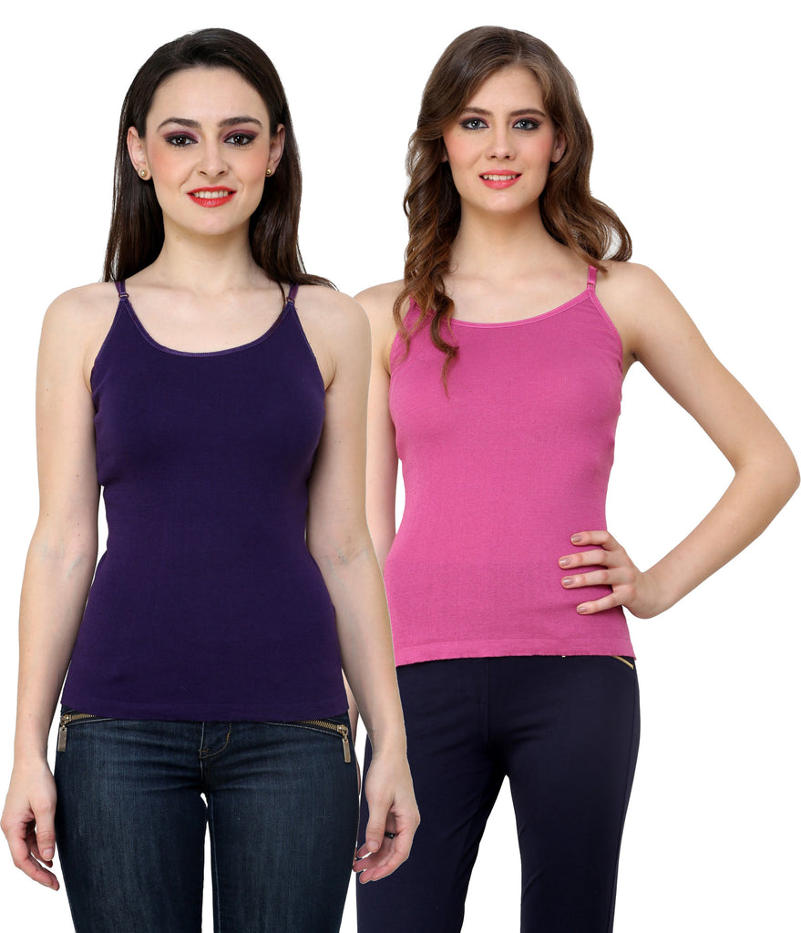 Renka Lycra Cotton Dark Blue Pink Plain Women Camisole (Pack Of 2)