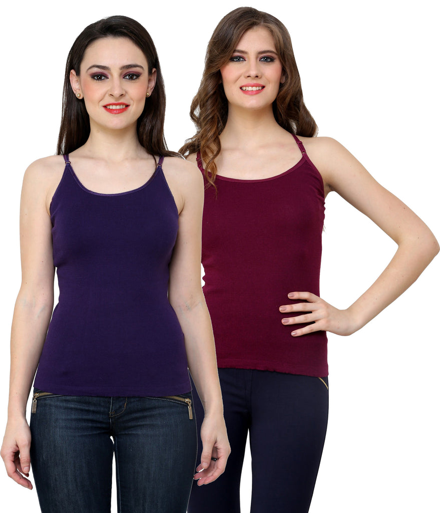 Renka Lycra Cotton Dark Blue Purple Regular Women Camisole (Pack Of 2)