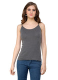 Renka Lycra Cotton Grey Brown Regular Women Camisole (Pack Of 2)