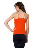 Renka Lycra Cotton Pink Orange Plain Solid Women Camisole (Pack Of 2)