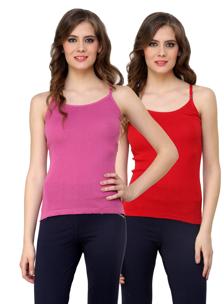 Renka Lycra Cotton Pink Red Plain Solid Women Camisole (Pack Of 2)