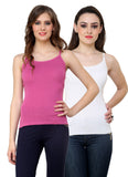 Renka Lycra Cotton Pink White Plain Solid Women Camisole (Pack Of 2)