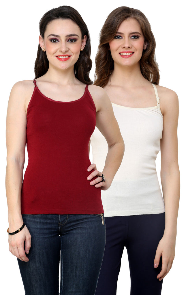 Renka Lycra Cotton Maroon White Solid Plain Women Camisole (Pack Of 2)
