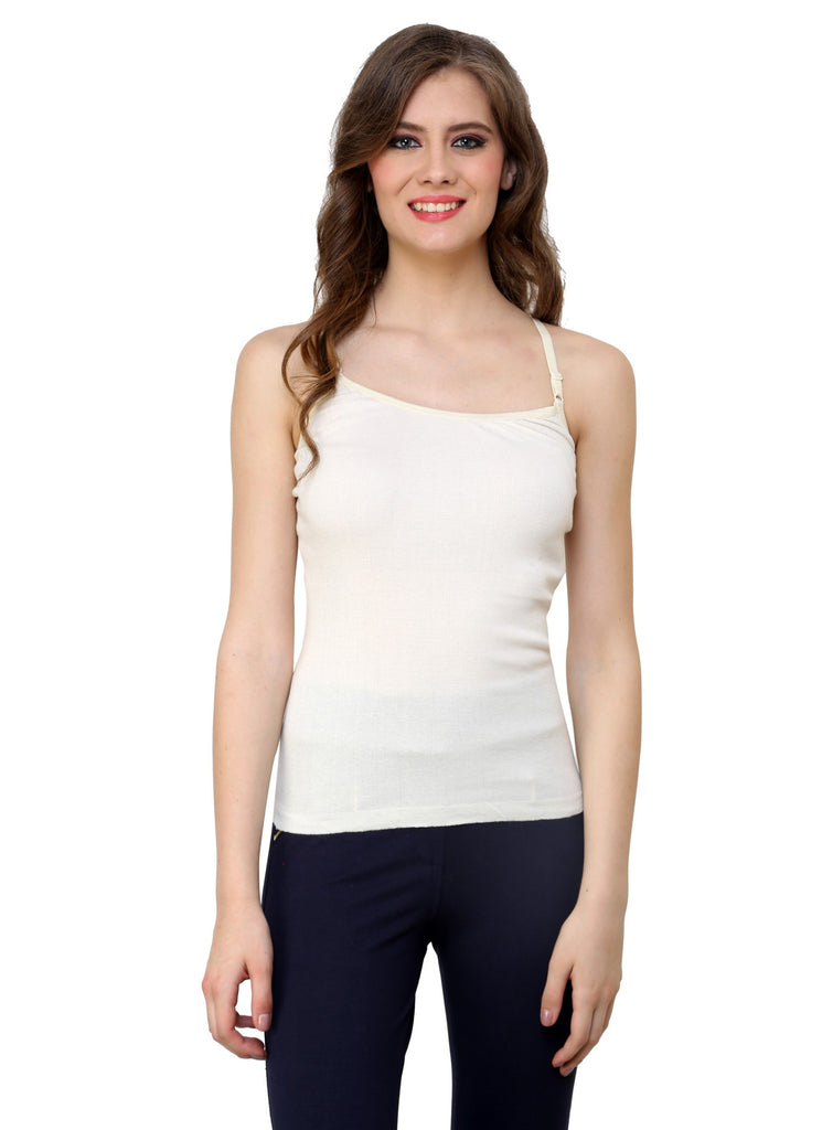 Renka Comfortable,Durable Off white Color Camisole/Tank Tops for Women-S2-Off-wht