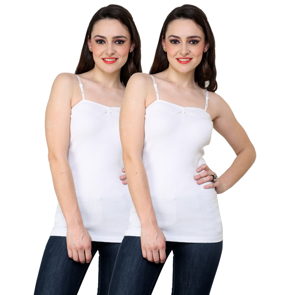 Renka Comfortable White Color Camisole Summer Tank Tops for Women (Pack of 2)