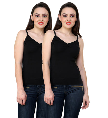 Renka Comfortable Black Color Camisole Summer Tank Tops for Women (Pack of 2)