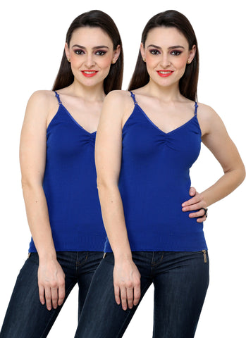 Renka Comfortable Blue Color Camisole Summer Tank Tops for Women (Pack of 2)