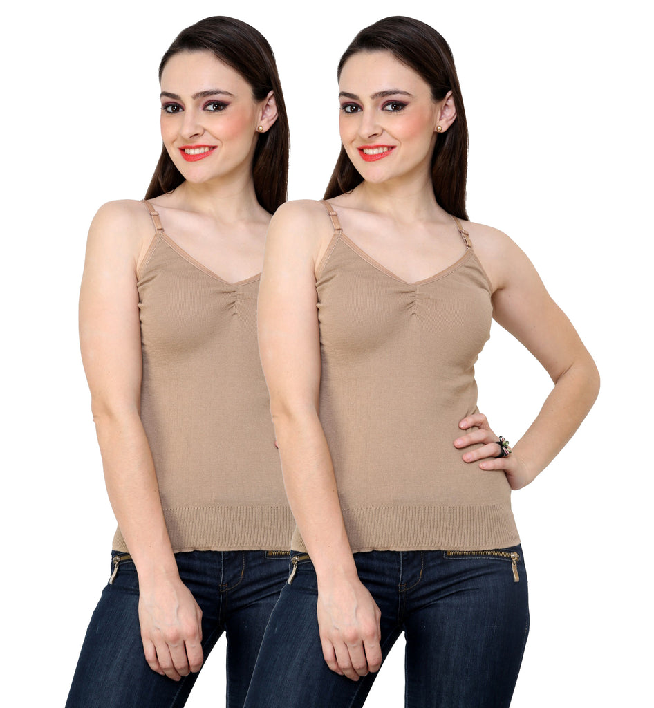 Renka Comfortable Camel Color Camisole Summer Tank Tops for Women (Pack of 2)