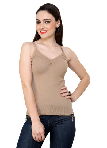 Renka Comfortable Camel Color Camisole Summer Tank Tops for Women