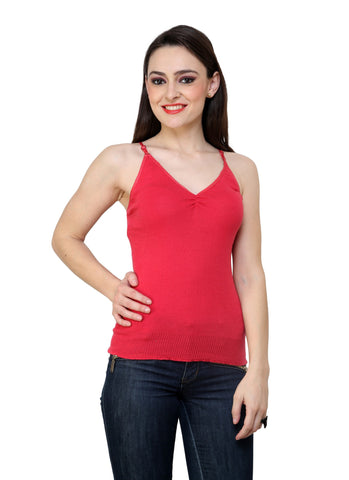 Renka Comfortable Carrot Color Camisole Summer Tank Tops for Women