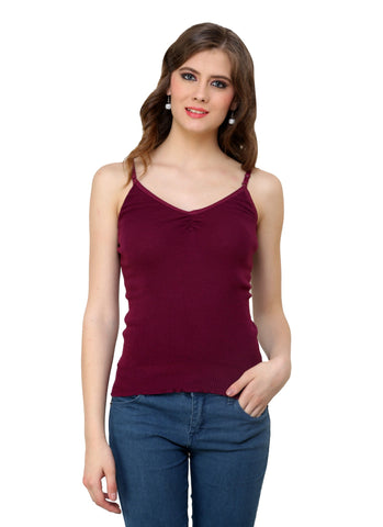 Renka Comfortable,Durable Maxwine Color Camisole/Tank Tops for Women