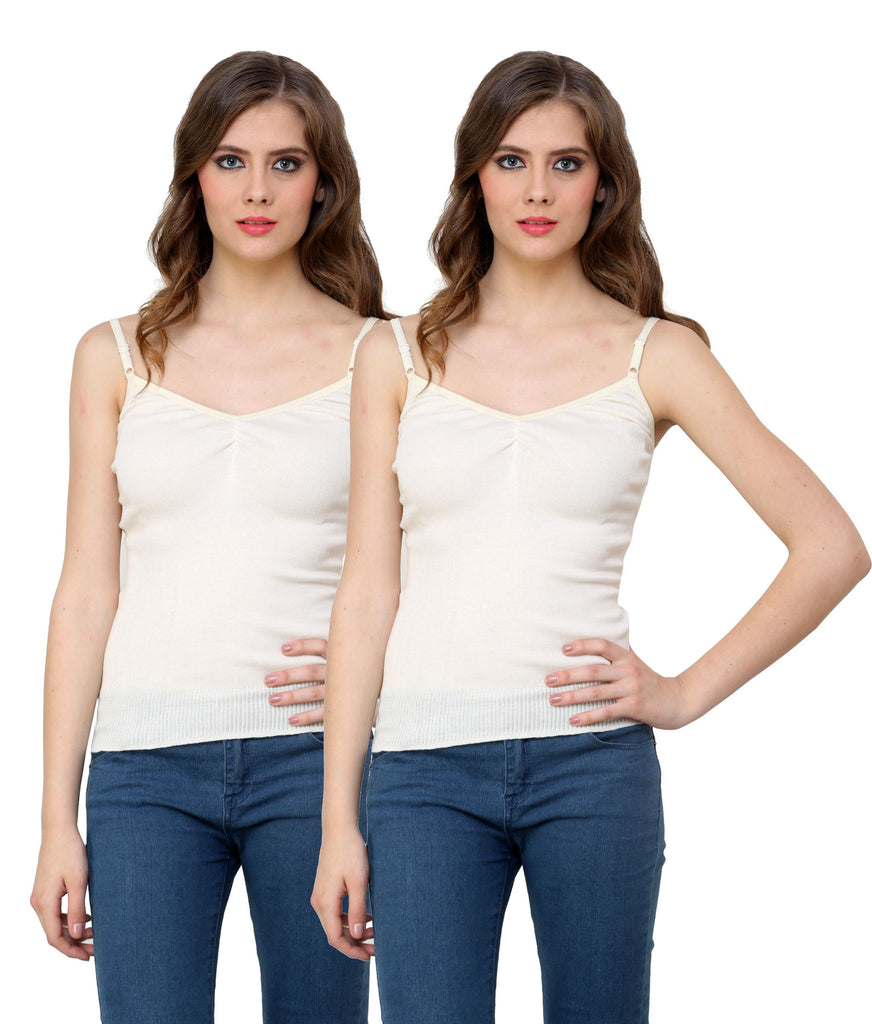 Renka Comfortable Off white Color Camisole Summer Tank Tops for Women (Pack of 2)
