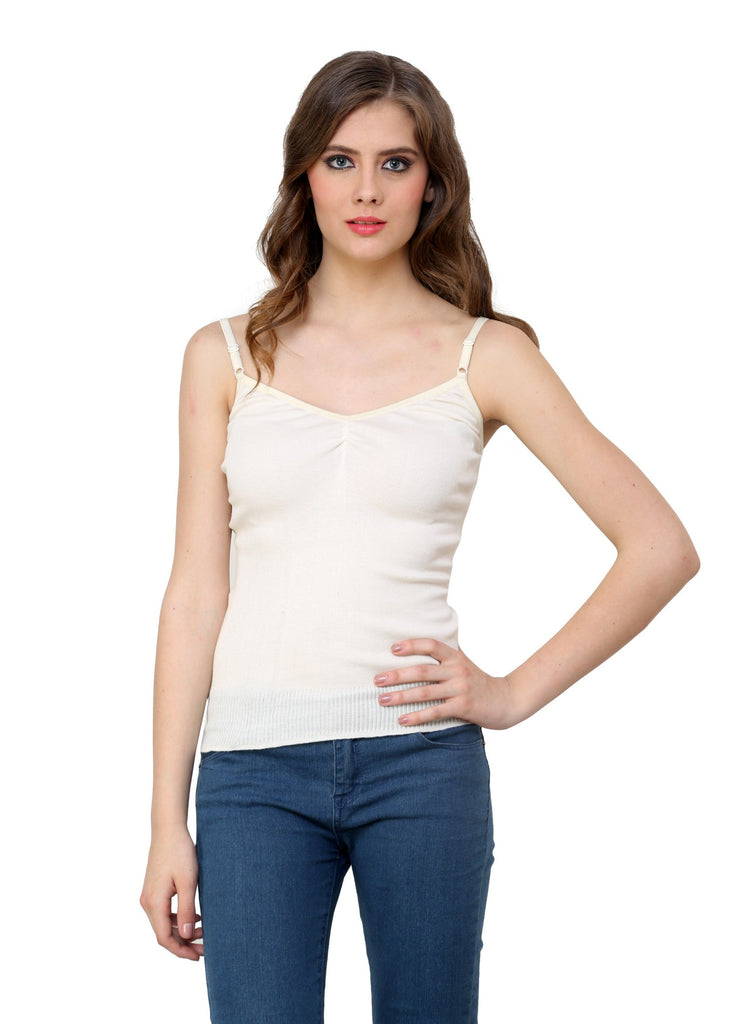 Renka Comfortable,Durable Off white Color Camisole/Tank Tops for Women-S4-Off-wht