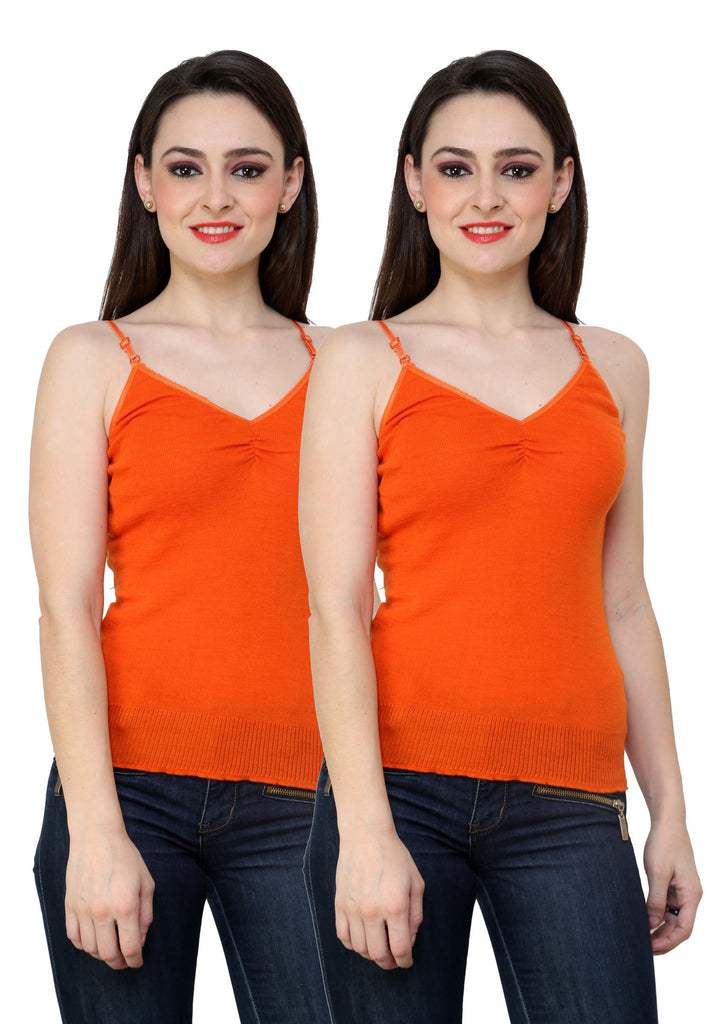 Renka Comfortable Orange Color Camisole Summer Tank Tops for Women (Pack of 2)