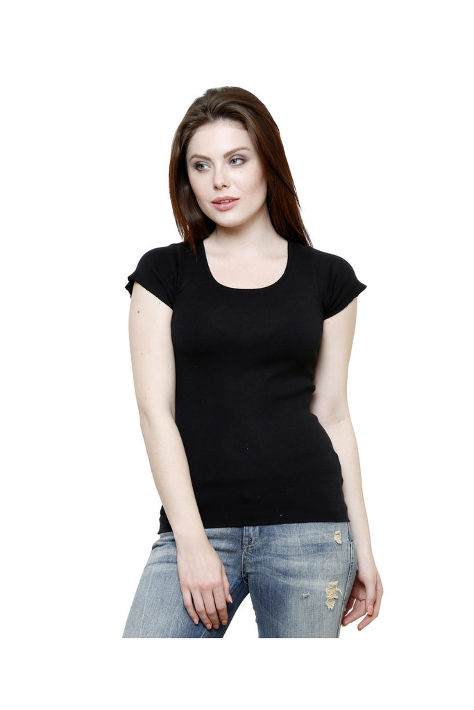 Renka Lace Poly Cotton Black Summer Seamless Top For Women