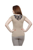 Renka Poly Cotton Lace Beige Summer Seamless Top For Women
