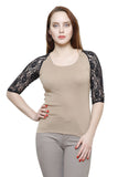Renka Short Sleeve Lace Beige Summer Seamless Top For Women