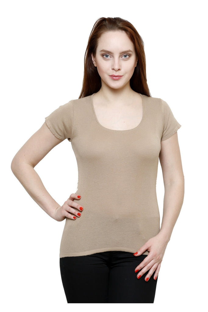 Renka Solid Poly Cotton Beige Summer Seamless Top For Women