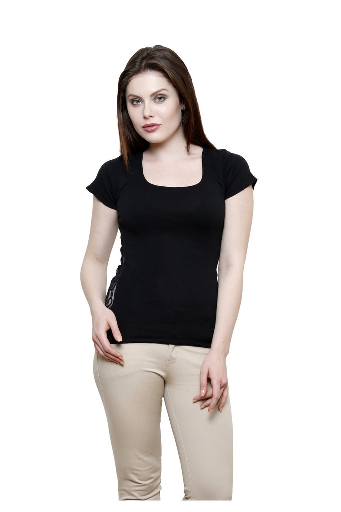 Renka Lace Plain Solid Black Summer Seamless Top For Women