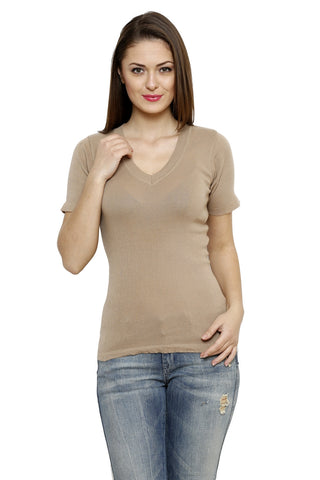 Renka Comfortable Beige Color Seamless Summer Tops for Women
