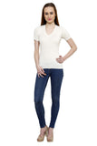 Renka Comfortable Off White Color Seamless Summer Tops for Women