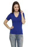 Renka Comfortable Blue Color Seamless Summer Tops for Women