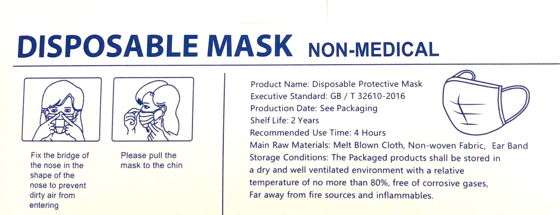 3-Ply Disposable Face Masks with Ear Loop (50 Pack, Blue)