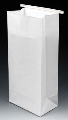 Poly-Lined Gusseted Paper Bags - White with Tabs